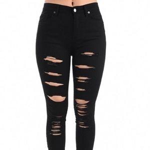 American Bazi Distressed Black Jeans • Size XL